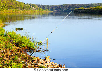 fishing rod on the river