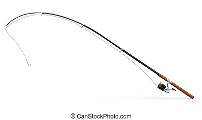 Fishing rod on white background 3D rendering