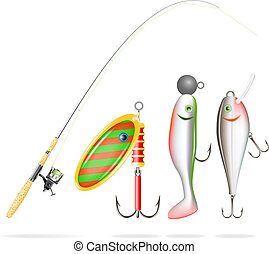 Fishing rod, reel and lures. Vector - EPS10, transparency,...