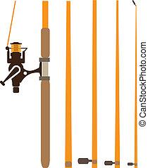 Fishing Rod sections - fishing rod sections illustration...
