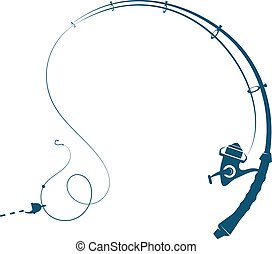 Fishing rod silhouette - Fishing rod with fishing line and...