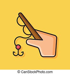 Fishing rod vector icon