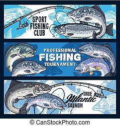 Fishing rod with salmon fish. Fisherman tournament