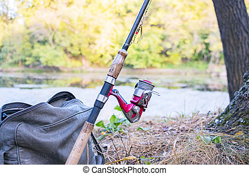 Fishing rod with spinning reel