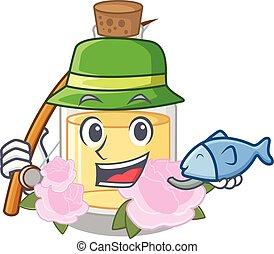 Fishing rose oil in the cartoon shape