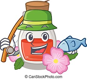 Fishing rose seed oil the cartoon shape