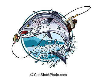 Fishing Salmon - Illustration of an fisherman is pulling...