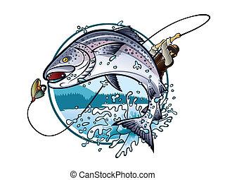 Fishing Salmon - Illustration of an fisherman is pulling...
