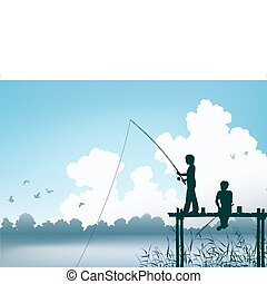 Fishing scene - Editable vector scene of two boys fishing...