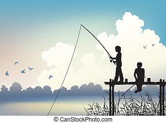 Editable vector scene of two boys fishing from a wooden jetty using gradient mesh