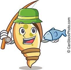 Fishing sea shell mascot cartoon