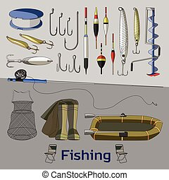 Fishing set icons