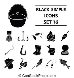 Fishing set icons in black style. Big collection of fishing vector symbol stock illustration