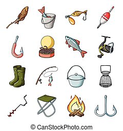 Fishing set icons in cartoon style. Big collection of fishing vector symbol stock illustration
