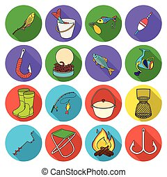 Fishing set icons in flat style. Big collection of fishing vector symbol stock illustration