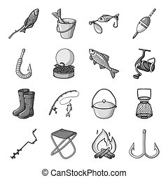 Fishing set icons in monochrome style. Big collection of fishing vector symbol stock illustration