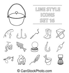 Fishing set icons in outline style. Big collection of fishing vector symbol stock illustration