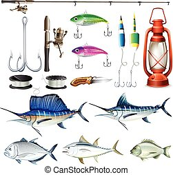 Fishing set with equipment and fish illustration