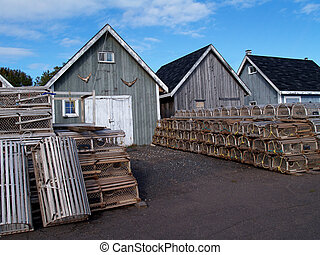 Fishing shacks with Lobster Traps