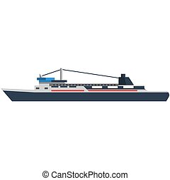 Fishing ship boat vector flat marine icon isolated