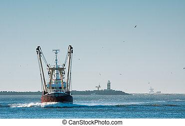 fishing ship in harbor