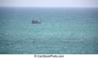 Fishing ship in open sea