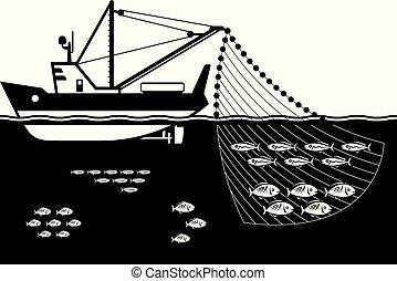 Fishing ship in the sea