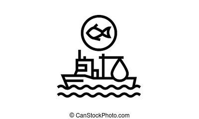 fishing ship animated black icon. fishing ship sign. isolated on white background