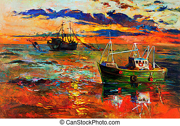 Original oil painting of fishing ships and sea on canvas. Sunset over ocean. Modern Impressionism