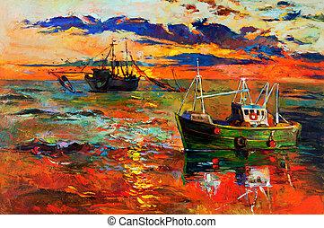 Fishing ships - Original oil painting of fishing ships and ...