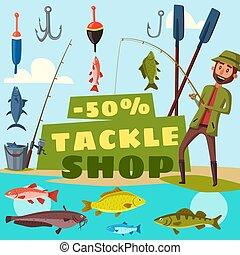 Fishing shop tackles cartoon vector
