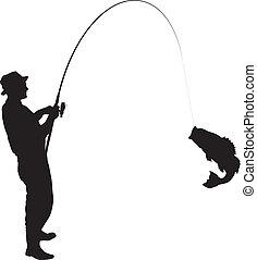 Fishing Silhouette - Fisherman caught a fish silhouette