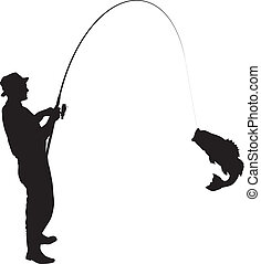 Fishing Silhouette - Fisherman caught a fish silhouette