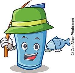 Fishing soda drink character cartoon