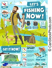 Fishing sport adventure, fisher catch equipment
