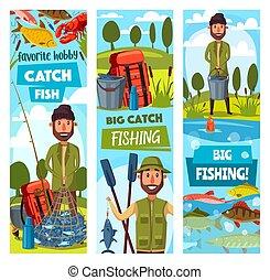 Fishing sport banners, fisherman and ammunition