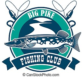 Fishing sport club badge sign - Fishing club isolated icon....