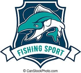 Fishing sport club badge with tuna fish icon
