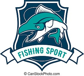 Fishing sport club badge with tuna fish icon