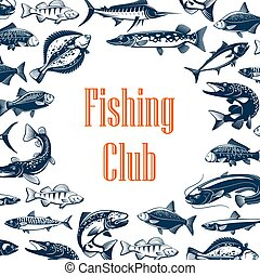 Fishing sport club poster with fish