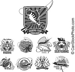 Fishing sport club vector icons set