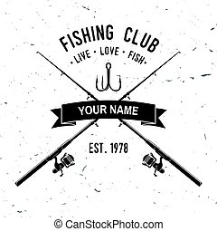 Fishing sport club. Vector illustration. - Fishing club....