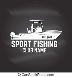 Fishing sport club. Vector illustration. - Hipster fishing...