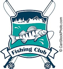Fishing sport club vector sign