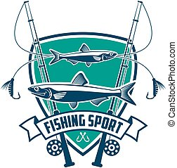Fishing sport club vector sign