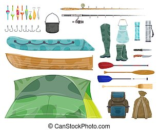 Fishing sport equipment and fisherman gear icon