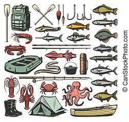 Fishing sport equipment and fishes