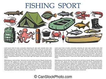 Fishing sport equipment, fisherman catch tackles
