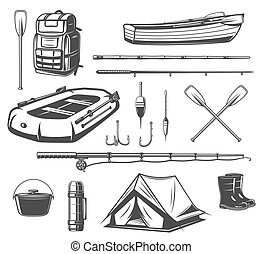 Fishing sport equipment sketch of fisherman tackle