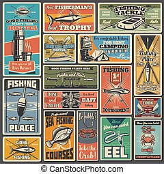 Fishing sport equipment vector posters